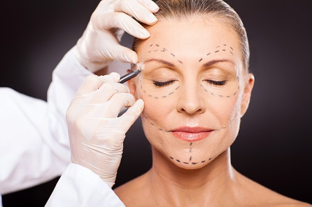senior at the dermatologist for cosmetic procedures